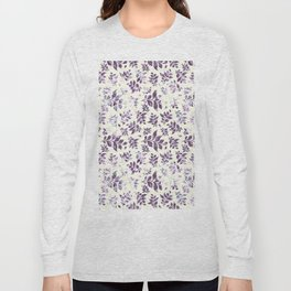 Hand painted abstract purple violet watercolor leaves pattern Long Sleeve T-shirt