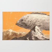 bass Area & Throw Rugs featuring Mountain Bass by Sam Rowe Illustration
