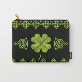 Irish Shamrock Four-leaf clover with celtic decor Carry-All Pouch