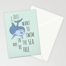 I Just Want to Swim in the Sea and be Free - Dolphin Stationery Cards