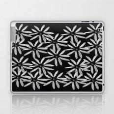 Tiny White Flowers on Black Background Laptop & iPad Skin