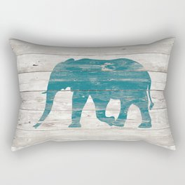Rustic Teal Elephant on White Painted Wood A222a Rectangular Pillow