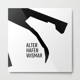 Alter Hafen Wismar – Black on White Metal Print