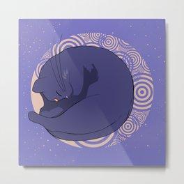Sleeping MoonCat Metal Print