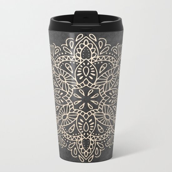 Mandala White Gold on Dark Gray Metal Travel Mug