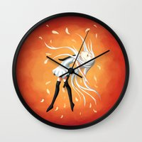 swan queen Wall Clocks featuring Swan by Freeminds