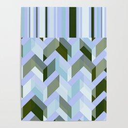 Chevron Blue Chalk Stripes Poster