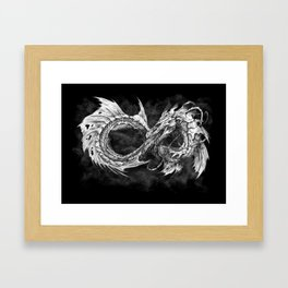 Ouroboros mythical snake on black cloudy background | Pencil Art, Black and White Framed Art Print