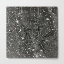 Vintage New Your City Map Metal Print