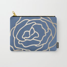 Flower in White Gold Sands on Aegean Blue Carry-All Pouch