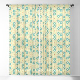 Scattered Teal Yellow Pattern Sheer Curtain
