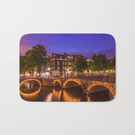 AMSTERDAM Idyllic nightscape from Keizersgracht and Leliegracht Bath Mat