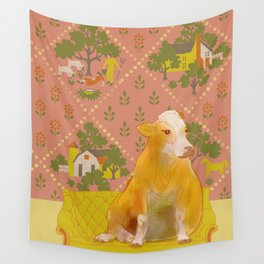 Farm Animals in Chairs #1 Cow Wall Tapestry