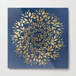 Gold Leaves Mandala Metal Print