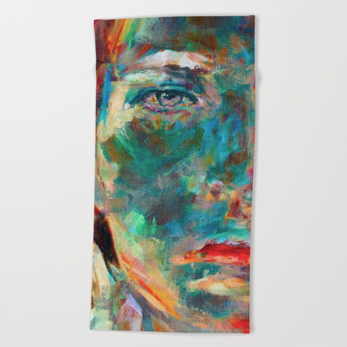 Face in Saturated Color's 2 Beach Towel