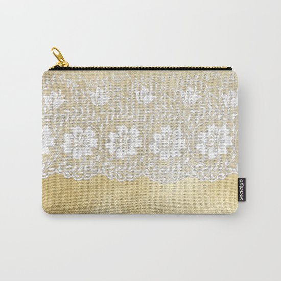 Bridal lace - White floral elegant lace on gold metal backround Carry-All Pouch