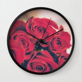Bundle of Red Roses Wall Clock