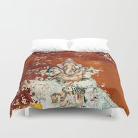 ganesha Duvet Covers featuring GANESHA by I Love Decor