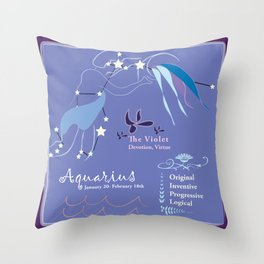 Aquarius February Throw Pillow