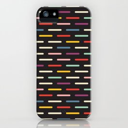 Modern Scandinavian Dash Multi Colour Color Black iPhone Case