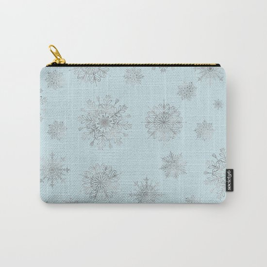 Assorted Silver Snowflakes On Light Blue Background Carry-All Pouch