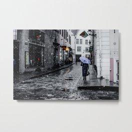 Snow in Tallinn Metal Print