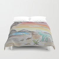 dinosaurs Duvet Covers featuring Dinosaurs' Downfall by Wetherall
