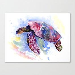 Sea Turtle , purple blue design, swimming sea turtle underwater beach scene Canvas Print