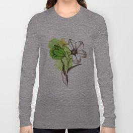 Green Watercolor Flower  Long Sleeve T-shirt
