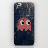pac man iPhone & iPod Skins featuring Pac-Man Pink Ghost by Psocy Shop