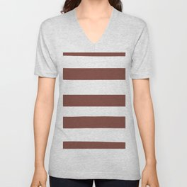 Inspired by Dunn Edwards Spice of Life DET439 Hand Drawn Fat Horizontal Lines on White Unisex V-Neck