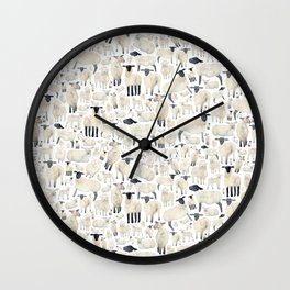Watercolour Sheep Wall Clock