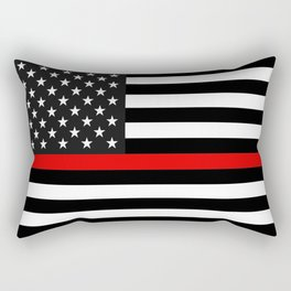 Thin Red Line American Flag Rectangular Pillow