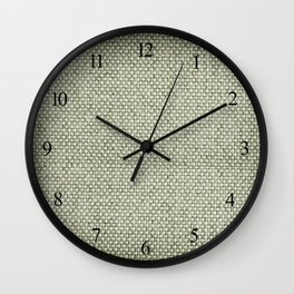 Green flax sheet cloth texture abstract Wall Clock