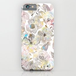 Elegant whimsical grey watercolor roses iPhone Case