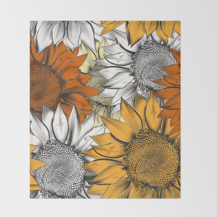 Beautiful pattern from hand drawn sunflowers Throw Blanket