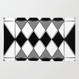 Shiny diamonds in black and white. Geometric abstract. Rug