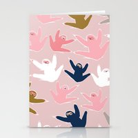 sloths Stationery Cards featuring Pattern with sloths by Darish