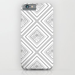 Grey Lotus on Rhombic Line - Pastel Ornament  iPhone Case