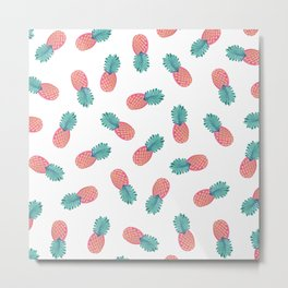 Abstract Summer Pink Teal Gold Pineapples Pattern Metal Print