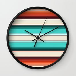 Navajo White, Turquoise and Burnt Orange Southwest Serape Blanket Stripes Wall Clock