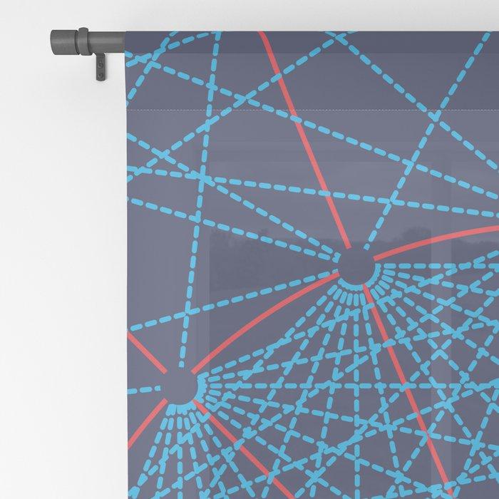 Geometric Circle Blue/Red Sheer Curtain
