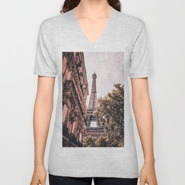 Paris Eifel Tower Pink photography in HD Unisex V-Neck