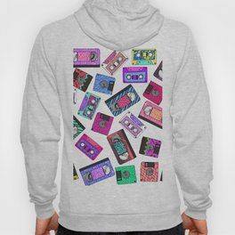 Retro 80's 90's Neon Patterned Cassette Tapes Hoody