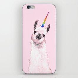 Unicorn Llama in Pink iPhone Skin
