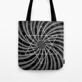 Metatron's Cube Grayscale Spiral of Light Tote Bag