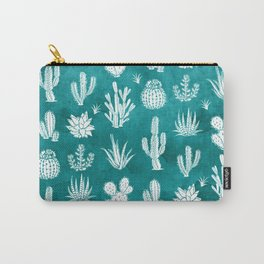 Cactus Pattern on Teal Carry-All Pouch