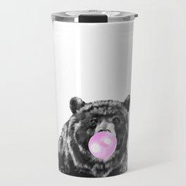 Bubble Gum Big Bear Black and White Travel Mug