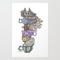 Owlice Wants Another Cup of Tea Art Print