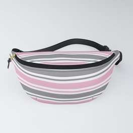 Pastel Pink & Gray & White Stripe Pattern Fanny Pack